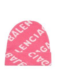 Balenciaga Allover Logo Beanie - Pink