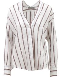 Vince - Blusa Bianca a Righe - Lyst