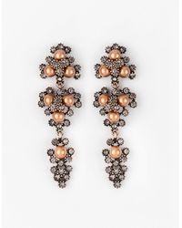 Le Chateau - Gem & Pearl-like Chandelier Earrings - Lyst