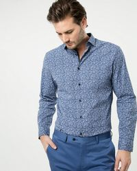 Le Chateau - Printed Cotton Blend Tailored Fit Shirt - Lyst