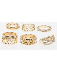 Le Chateau - Set Of Gem & Metal Knuckle Rings - Lyst
