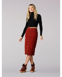 Lee Jeans Vintage Modern High Rise Midi Skirt - Red