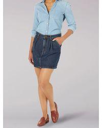 Lee Jeans Vintage Modern Gathered Hem Mini Skirt - Blue