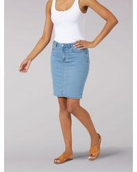 Lee Jeans Womens Legendary Regular Fit Skirt Indigo Pinstripe - Blue