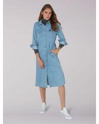 Lee Jeans Vintage Modern Western Midi Dress - Blue