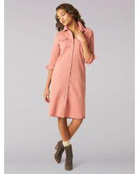 Lee Jeans Vintage Modern Western Midi Dress - Pink