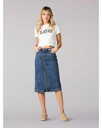 Lee Jeans Vintage Modern High Rise Midi Skirt Sure Blue