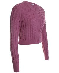 525 America Cropped Cable Knit Cardigan - Purple