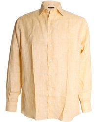 St. Croix Solid Linen Button Front Shirt - Yellow