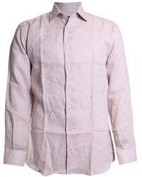 St. Croix Solid Print Linen Sport Shirt - Multicolor