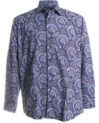 St. Croix Paisley Print Sport Shirt - Blue