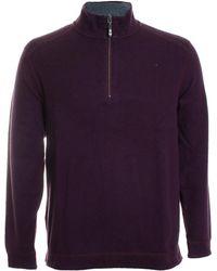 Tommy Bahama Alpine View Reversible Knit Quarter Zip Sweater - Purple