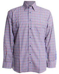 St. Croix Color Minicheck Sport Shirt - Purple