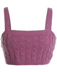 525 America Cable Knit Cropped Tank - Purple