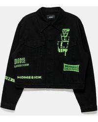 we11done Neon Logo Denim Jacket - Black