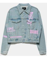 we11done Neon Logo Denim Jacket - Blue