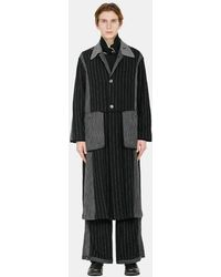 Commun's Double-pouch Pinstriped Trench Coat - Black