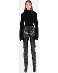 Yang Li Leather Slim Trousers - Black