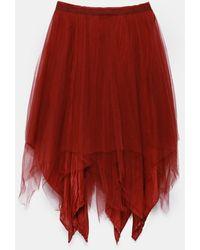 Marc Le Bihan Triple-layer Asymmetric Skirt - Red