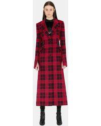 Yang Li Check Long Slim Coat - Red