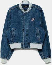 we11done Washed Logo Denim Jacket - Blue
