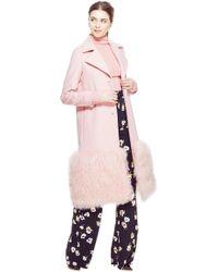 Lela Rose - Mongolian Embroidered Wool Fur Panel Coat - Lyst