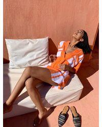 lemlem Zoya Pocket Tunic Shirt - Orange
