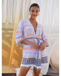 lemlem Neela Short Robe - Blue