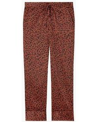 Les Girls, Les Boys Mens Animal Print Classic Pyjama Bottoms Brick Red