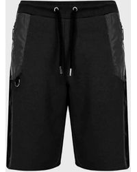 Les Hommes Short Joggers In Mercerized Cotton With Contrasting Inserts - Black