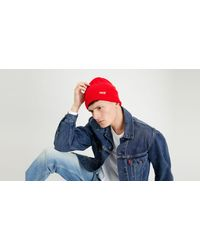 Levi's Red Batwing Beanie Rouge