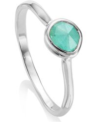 Monica Vinader - Silver Siren Small Amazonite Stacking Ring - Lyst