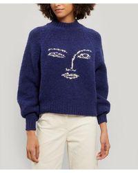 Paloma Wool Pieiro Intarsia Knit Face Sweater - Blue