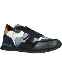 Valentino Rockrunner Leather Camouflage Trainers - Black
