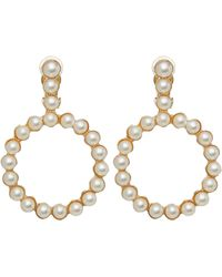 Shrimps Deva Faux Pearl Beaded Clip-on Drop Earrings - Metallic