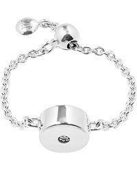 Monica Vinader Silver Linear Solo Diamond Friendship Chain Ring - Metallic
