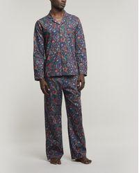 Liberty Jeweltopia Tana Lawntm Cotton Long Pyjama Set - Blue