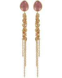 Brooke Gregson - Gold Pink Tourmaline Waterfall Earrings - Lyst