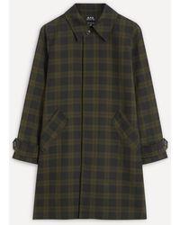 A.P.C. Dinard Check Twill Mac Coat - Black