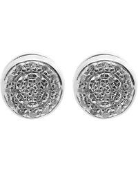 Monica Vinader - Silver Fiji Button Diamond Stud Earrings - Lyst