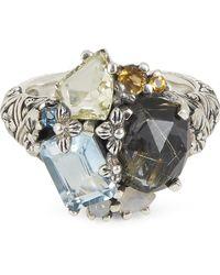 Stephen Dweck Silver Multi-stone Floral Engraved Ring - Metallic