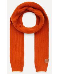 Loewe Knitted Wool Scarf - Orange
