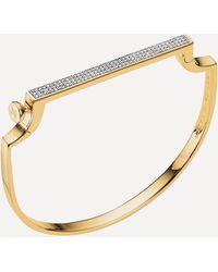 Monica Vinader Gold Plated Vermeil Silver Signature Medium Thin Diamond Bangle - Metallic