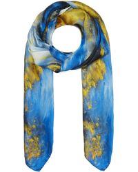 Weston Agate Print Silk Scarf - Blue