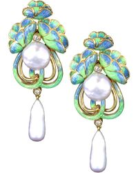 Kojis Gold Art Nouveau-style Enamel Diamond And Pearl Drop Earrings - Metallic