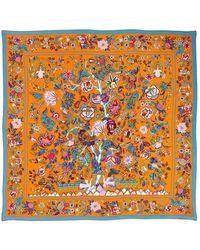 Liberty Tree Of Life 90 X 90 Silk Scarf - Orange