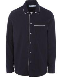 Desmond & Dempsey - Brushed Cotton Collared Pyjama Shirt - Lyst