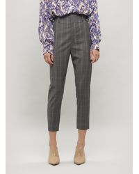 Étoile Isabel Marant Noah Cropped Checked Wool Trousers - Grey