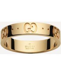 Gucci 18ct Gold Icon Thin Ring - Metallic