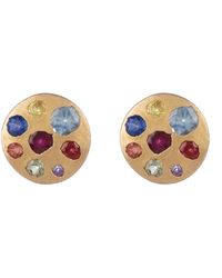 Polly Wales Rose Gold Rainbow Sapphire Crystal Disc Studs - Multicolour